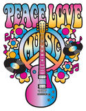 Peace Love and Music. Retro-style illustration of a guitar, flowers and peace symbol with the words Peace Love Music. Type style is my own design. Elements are Stock Images