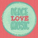 Peace Love Music emblem  illustration Royalty Free Stock Image