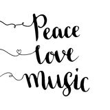 Peace love music. Handwritten lettering. Hand drawn vector design. Inspiration phrase stock illustration