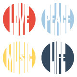 Peace, Love, Music, Life text design vector illustration. Stock Photography