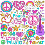 Peace Love and Music Notebook Doodles Vector Set. Peace Love and Music Notebook Doodle Design Elements Vector Set- Hand-Drawn Illustration Background Stock Image