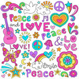 Peace, Love, & Music Notebook Doodles Vector Set. Peace Love and Music Flower Power Groovy Psychedelic Notebook Doodles Set with Peace Signs, Dove, Acoustic Stock Photography