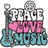 Peace-Love-Music_Pink and Blue. Retro-style illustration of a guitar, peace symbol and dove with the words Peace, Love and Music. Type style is my own design Royalty Free Stock Images