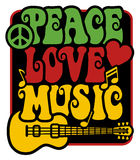 Peace-Love-Music_Rasta Colors. Retro-style type design of Peace, Love and Music with peace symbol, heart, musical notes and guitar in Rasta colors. Type style is Stock Illustration