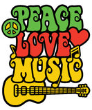Peace Love and Music in Rasta Colors. Retro-style text design with guitar, peace symbol, heart and musical notes in Rasta colors. Text design is my own vector illustration