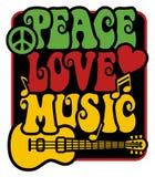 Peace-Love-Music_Rasta färger Arkivfoto