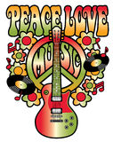 Peace-Love-Music in Red and Green. Retro-style text design with peace symbol, guitar, vinyl records, flowers and musical notes in red and green gradients Royalty Free Stock Images