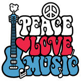 Peace Love Music. Retro-style type design of Peace, Love & Music with a peace symbol, guitar, dove, heart and musical notes in red, white and blue. Type style is stock illustration