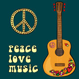 PEACE LOVE MUSIC text design with peace symbol and guitar Stock Image