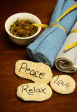 Peace, love and relax words and spa products Royalty Free Stock Images
