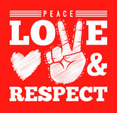 Peace Love And Respect Symbol. Peace love and respect with hand sign, vector illustration Royalty Free Stock Photography