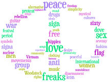 Peace and love sign tag cloud Stock Images