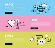 Peace. Love. Smile. Web banners  set Stock Photo