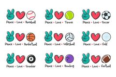 peace love sport. Sports ball design for the lovers of sports for health