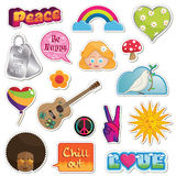 Peace and love stickers Stock Photography