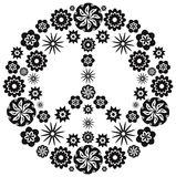 Peace and Love Symbol made of Flowers Vector Illustration Royalty Free Stock Photos