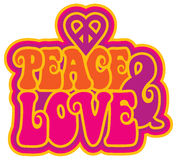 Peace and Love. Text design of peace & love with a peace heart symbol royalty free illustration