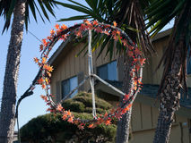 Peace Loving San Francisco. A peace sign decorates the palm trees instead of the regular Halloween pumpkin. Still keeping with the season colors but with a Royalty Free Stock Images
