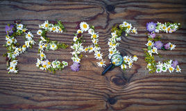 Peace made of flowers Royalty Free Stock Photography