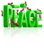 Peace making no more war. Aeace making no more war peaceful ants building 3D word stock illustration