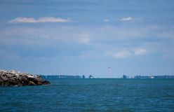 Peace Memorial Skyline. The Commodore Perry International Peace Memorial is visible in this view of Lake Erie and the Put-in-Bay tourist islands Royalty Free Stock Photography