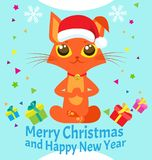 Peace Of Mind. Happy New Year Card With Meditating Cat Vector. Christmas Yoga Cat Vector. Royalty Free Stock Photo