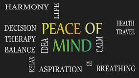 Peace of mind, motivational and inspirational concept. Black background