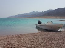 Peace of mind. Sea mountains Egypt dahab blue clear water Royalty Free Stock Photography