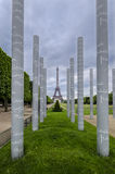 Peace Monument Detail and Eiffel Tower, Paris Royalty Free Stock Photo