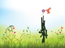 Peace - no more guns. Illustration of a bird holding a flower on top of a gun in a grass field Stock Photos