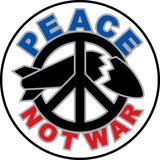 Peace Not War text design with a peace symbol destroying a missile royalty free illustration