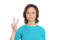 Peace or the number two Stock Photo