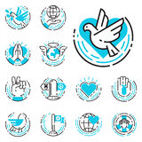 Peace outline blue icons love world freedom international free care hope symbols vector illustration Royalty Free Stock Image