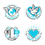 Peace outline blue icons love world freedom international free care hope symbols vector illustration Stock Images