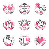 Peace outline pink icons love world freedom international free care hope symbols vector illustration Royalty Free Stock Photo