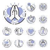 Peace outline thin line icons love world freedom international free care hope symbols vector illustration Royalty Free Stock Photo