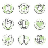 Peace outline thin line icons love world freedom international free care hope symbols vector illustration Royalty Free Stock Images