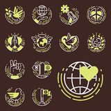 Peace outline thin line icons love world freedom international free care hope symbols vector illustration Royalty Free Stock Photos