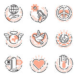 Peace outline thin line icons love world freedom international free care hope symbols vector illustration Royalty Free Stock Photography