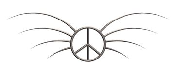 Peace. Pacific symbol with thorns - 3d illustration Royalty Free Stock Photography