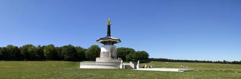 Peace pagoda panorama milton keynes park. Ornate peace pagoda in willen park milton keynes buckinghamshire england Royalty Free Stock Photography