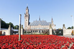 Peace Palace. Carpet of red flowers in front the most Visited Place of The Hague, International Court of Justice Building, Netherlands Royalty Free Stock Image