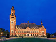 The Peace Palace at evening in The Hague, Netherlands. It houses the International Court of Justice of UN, the Permanent Court of Arbitration and the Hague Stock Photos