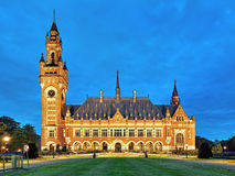 The Peace Palace at evening in The Hague, Netherlands. It houses the International Court of Justice of UN, the Permanent Court of Arbitration and the Hague Royalty Free Stock Photos