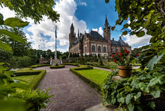 Peace Palace garden. Garden of the Peace Palace Seat of the International Court of Justice, principal organ of the United Nations located in The Hague Stock Photo