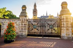Peace palace in Haag. Sunset view on the gates and Peace palace the seat of international law in Haag city, Netherlands Stock Photos
