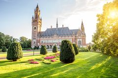 Peace palace in Haag. Sunset view on the Peace palace the seat of international law in Haag city, Netherlands Stock Photo