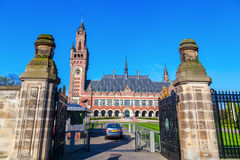 Peace Palace in The Hague, Netherlands. The Hague, Netherlands - April 21, 2016: Peace Palace. It houses the Permanent Court of Arbitration and International Royalty Free Stock Images