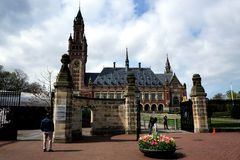 Peace palace. In Hague Netherlands or Palace of peace and justice royalty free stock image
