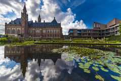 Peace Palace mirror. Pond and mirror of the Peace Palace Seat of the International Court of Justice, principal organ of the United Nations located in The Hague Royalty Free Stock Photo
